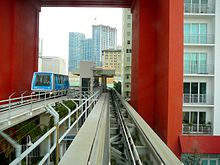 An elevated metro line and station with a travelling vehicle on the left track, passing through the opening at the bottom of a building.