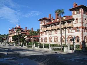 Ponce de Leon Hotel - The front facade of the hotel, facing King Street in downtown St. Augustine.