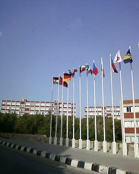 File:Flagpoles at Yakın Doğu Üniversitesi.jpg