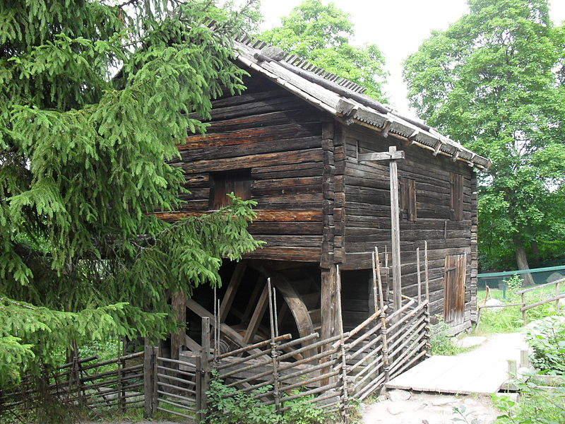 Flax Mill, gable end and frontage, Skansen, Stockholm.jpg