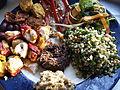 Flickr - cyclonebill - Kyllingegrillspyd, oliven, tomater, thaifiskefrikadeller, grillet peberfrugt med ansjoser, salat, tabbouleh, oliventapenade og auberginecreme.jpg