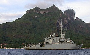 The French frigate Floréal, stationed in Bora-Bora lagoon