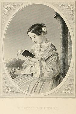 Florence Nightingale som ung pige læser en bog