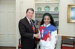 "Florence ""Flo Jo"" Griffith-Joyner and President Ronald Reagan"