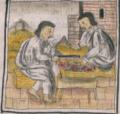 Florentine Codex Fol 56 lapidarios medición piedras preciosas regla.png