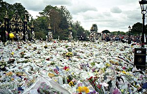 Death of Diana, Princess of Wales - Flowers left outside Kensington Palace in tribute to Princess Diana.