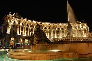 Architecture of Rome - The Fontana delle Naiadi in the Neoclassical Piazza della Repubblica.