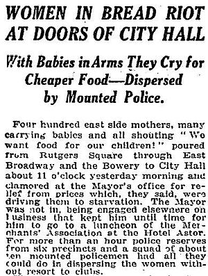 New York City Food Riot of 1917 - Food Riots of 1917 in the New York Times on February 21, 1917