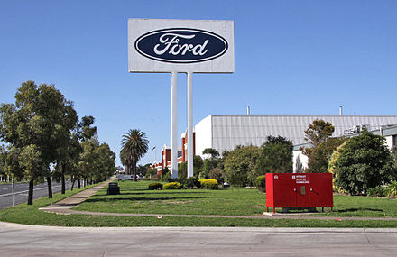 The Ford stamping plant in Geelong, Victoria, Australia. It closed in 2016. Ford stamping plant Geelong.jpg