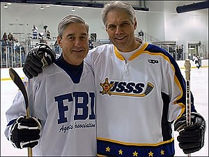 United States Secret Service - Former FBI Director Robert Mueller and Former Secret Service Director Mark Sullivan participate in the Annual Secret Service vs. FBI Charity Hockey Game.