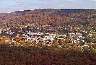 Aerial view of Fort Payne, Alabama (Lookout Mountain in background