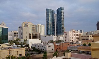 Broward County, Florida - City skyline, featuring Las Olas River House (center), 110 Tower (far right), and Bank of America Plaza (far left)