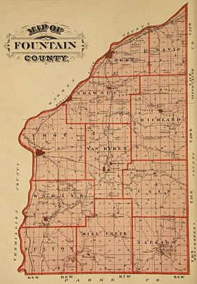 Fountain County, Indiana map from 1876 atlas