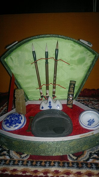 Chinese calligraphy - A Chinese calligraphy set, Gurgaon, near Delhi, India