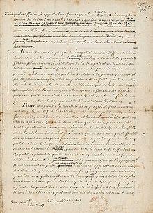 Photo d'une page manuscrite comportant des ratures.