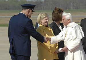 Frank Gorenc - Maj Gen Frank Gorenc, Commander, Air Force District of Washington, greets Pope Benedict XVI upon his arrival at Andrews Air Force Base, Md.