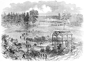 Battle of Boydton Plank Road - Second Corps US Army under Hancock outflanking Confederate works at Armstrong's Mill, October 27th.