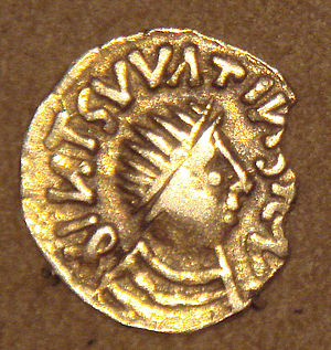 Merovingian dynasty - Frankish gold Tremissis, imitation of Byzantine Tremissis, mid-6th century.