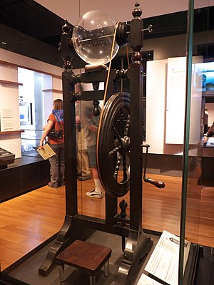 Experiments and Observations on Electricity - Franklin's electrostatic machine   display at Franklin Institute museum.