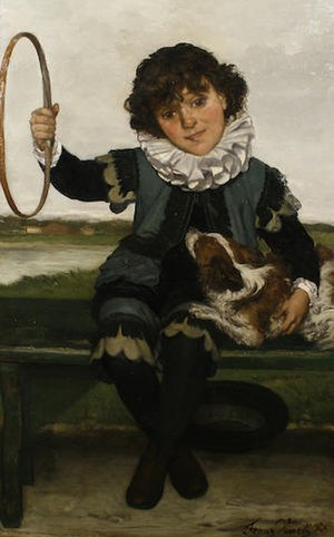 Franz Vinck - Portrait of a boy with a Cavalier King Charles Spaniel and hoop