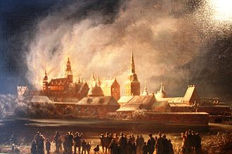 Frederiksborg Castle - The Castle Fire of 1859, painting by Ferdinand Richardt (1819-1895)