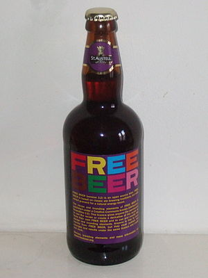 """St Austell Brewery - An unopened bottle of the open-source """"Free Beer"""" which was brewed by St. Austell in 2007."""