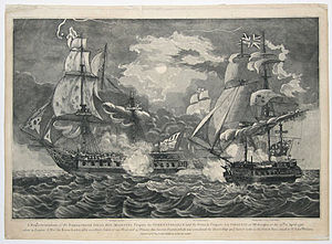 Razee - Razee HMS ''Indefatigable'' (right) fights ''Virginie'', 1796, by John Fairburn