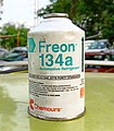 Freon 134a refrigerant for car AC 001 (cropped).jpg
