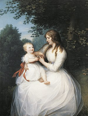 Constantin Brun - Friederike Brun with daughter Charlotte, painting by Erik Pauelsen (1780)
