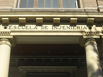 University of Chile - School of Engineering Entrance in Beauchef Campus. The Bello orthography used in it was developed by Andrés Bello.