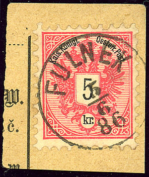 Fulnek - Austrian KK 5 kr stamp, German cancelled FULNEK in 1886