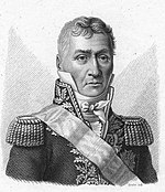Blank and white print of a stern-looking man with heavy eyebrows. He wears a dark military coat with a high collar, epaulettes, gold braid and a sash over his shoulder.