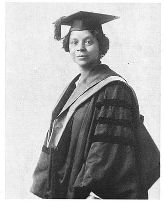 Square academic cap - Georgiana Simpson in 1921, wearing academic dress for her graduation from the University of Chicago