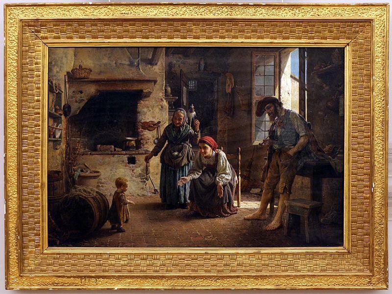 Файл: Gaetano chierici, una scena domestica, primi passi, 1865.jpg