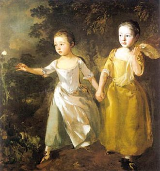 1756 in art - Image: Gainsborough The Painters Daughters Chasing a Butterfly
