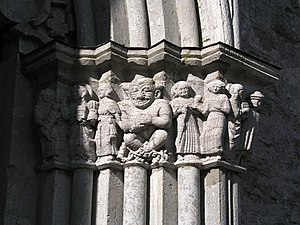 Gammelgarn Church - Detail of the richly sculpted main portal