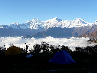 Ganesh Himal from the south;  left Pabil, in the middle Salasungo, right Ganesh V