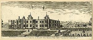 André Mollet - Garden view, south elevation of Wimbledon Palace. 1678 Engraving by Henry Winstanley
