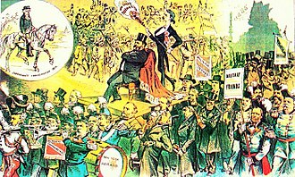 Third Party System - 1881 cartoon attacks the imperial splendor of Garfield's inauguration in contrast to Jefferson's republican simplicity (upper left)