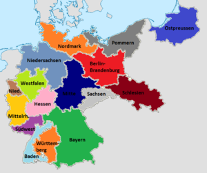 Gauliga Niederrhein - The initial 16 districts of the Gauliga with Niederrhein in brown on the left of the map