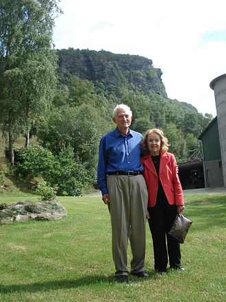 "Gene Amdahl - On the face of the mountain behind Gene and Marian there is a profile of a face, called the ""Amdahl troll"""
