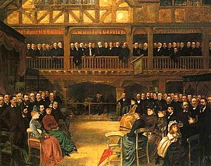 George Henry Bernasconi - Meeting of the City of Birmingham Pharmaceuticals 1888 by George Bernasconi. Oil.