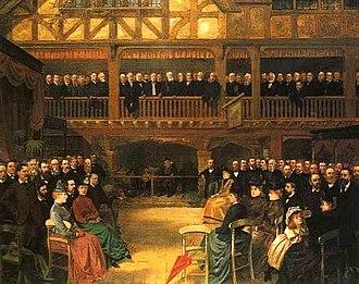 George Henry Bernasconi - Meeting of the City of Birmingham Pharmaceuticals 1888 by George Bernasconi. Oil.