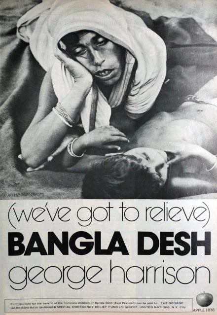 "Advertisement for former Beatle George Harrison's ""Bangla Desh"" single, released in July 1971 to raise international awareness and funds for the millions of Bangladeshi refugees. George Harrison - Bangla Desh.png"