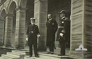 George King-Hall - Admiral Sir George King-Hall (left) and Rear Admiral Sir George Patey (right) being received by the Governor General Lord Denham on the steps of Admiralty House, 4 October 1913