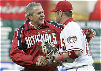 Brian Schneider - Schneider caught the first pitch at RFK Stadium from President George Bush at the Nationals' first game.