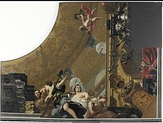 Onderdeel (rechtsonder) van een plafondschildering met als hoofdvoorstelling Diana en haar gezellinnen
