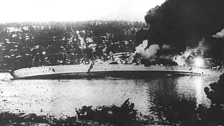 The German cruiser Blucher sinking in the Oslofjord German cruiser Blucher sinking.jpg