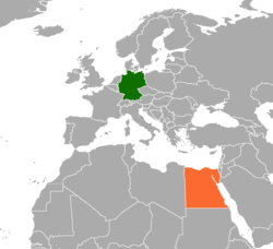 Map indicating locations of Germany and Egypt
