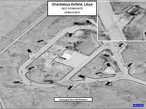 2011 military intervention in Libya - Damage to aircraft shelters at Ghardabiya Airfield near Sirte, 20 March